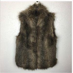 Ann Taylor Loft Vest Faux Fur Full Zip Sleeveless